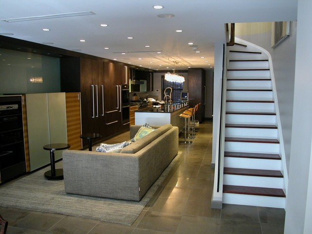 Nice Brownstone Basement Part - 4: Example Of A Trendy Ceramic Floor And Gray Floor Basement Design In New  York With Gray