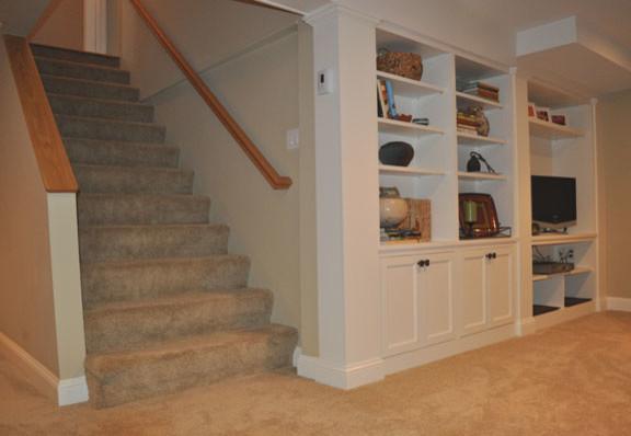 built ins traditional basement