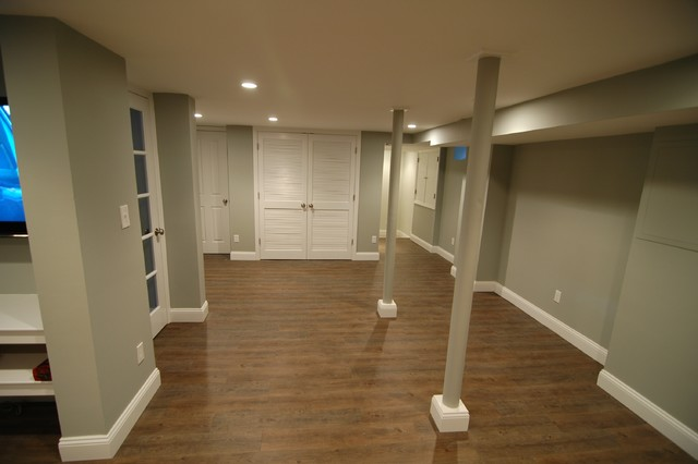 Center hall colonial basement renovation traditional for Center hall colonial living room ideas