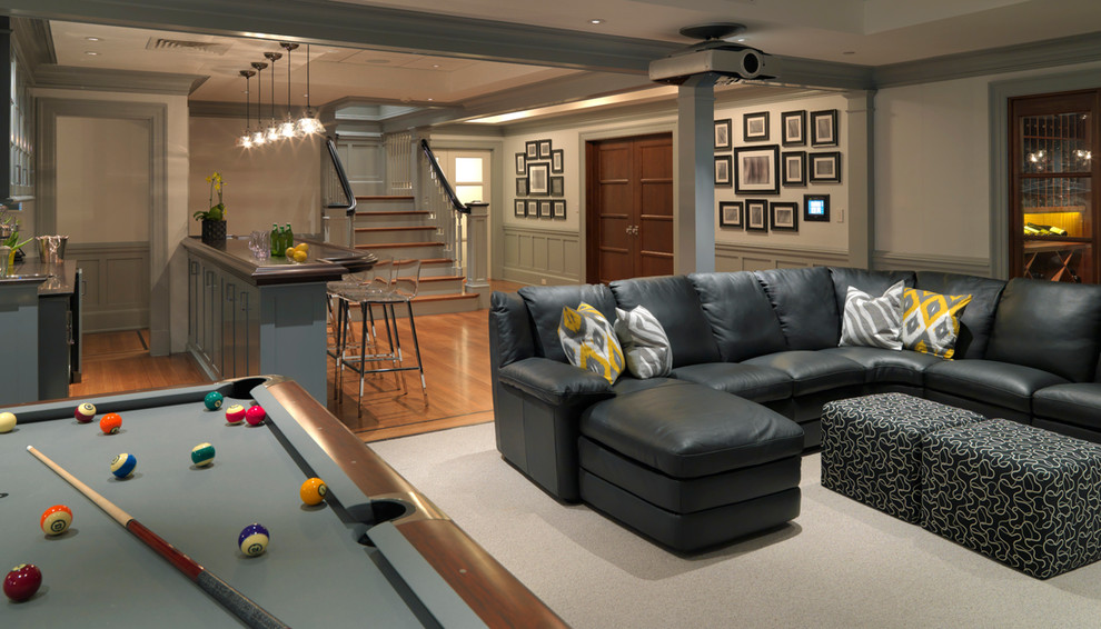 Inspiration for a large timeless walk-out medium tone wood floor basement game room remodel in Boston with white walls and no fireplace
