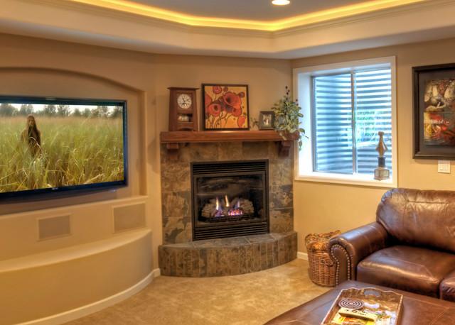 Close Up Of Corner Fireplace In West Denver Basement