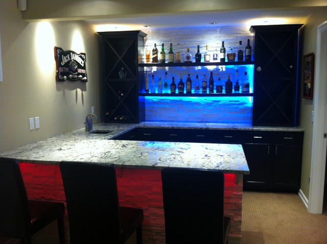 Cold spring granite bar with led lighting - Home bar lighting ideas ...