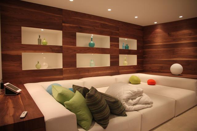 Comfy tv room contemporary basement vancouver by living edge design - Basement living room ideas ...