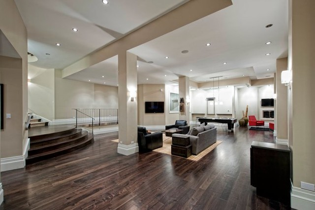 Modern Finished Basement Remodel To Living Room Contemporary Basement