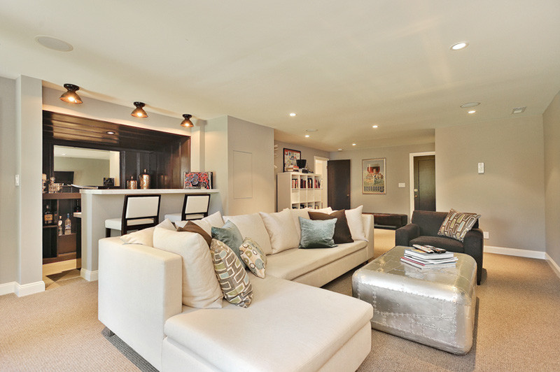 Trendy beige floor basement photo in San Francisco