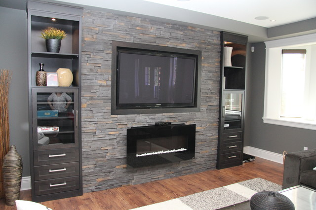 Contemporary basement - Hanging tv on wall ideas ...