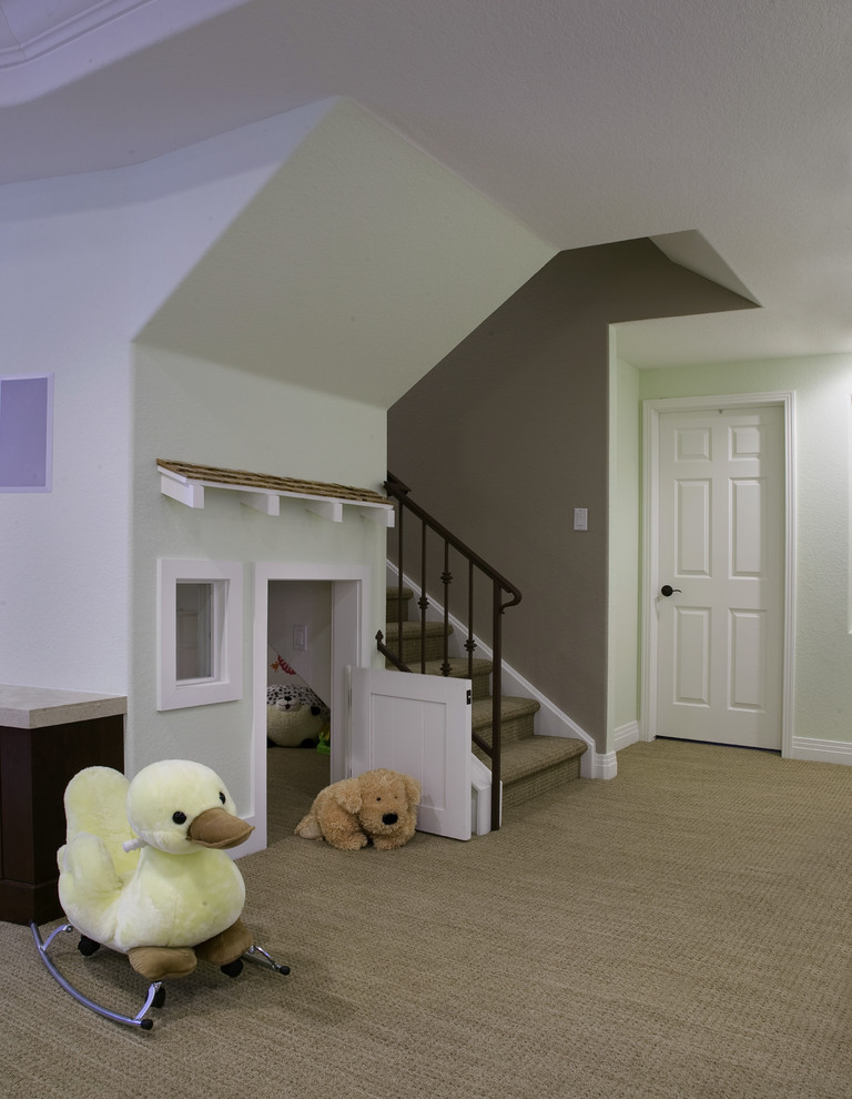 Example of a classic carpeted and beige floor basement design in Denver