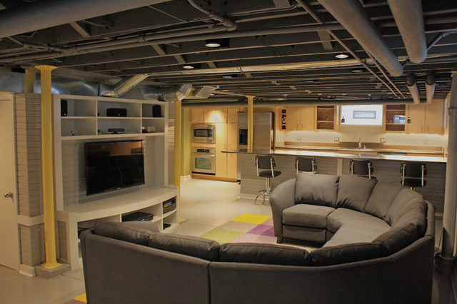 Contemporary Basement Remodel - Contemporary - Basement ...