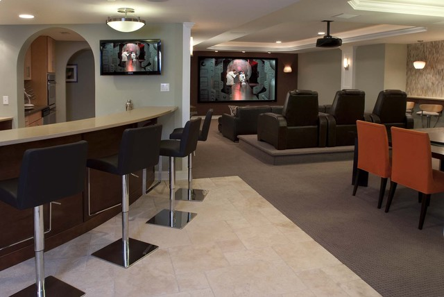 contemporary family entertainment contemporary basement. Black Bedroom Furniture Sets. Home Design Ideas