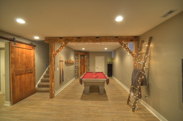 contemporary rustic finished basement with reclaimed barn