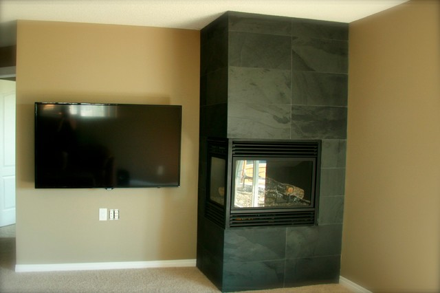 Corner Fireplace modern-basement