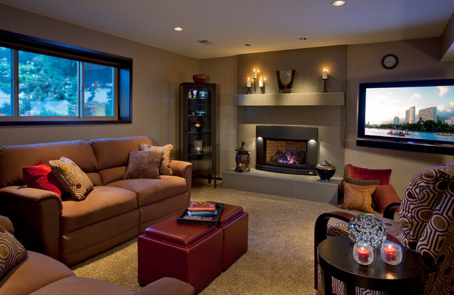 Cozy basement modern basement portland by l for Modern basement ideas
