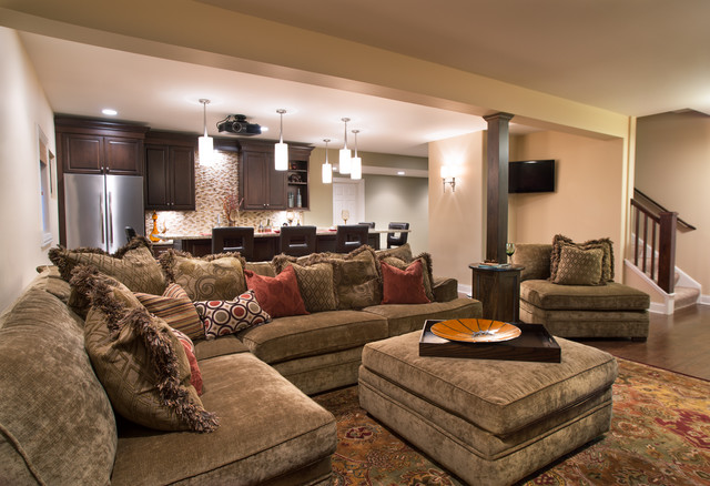 Cozy Home Theater Traditional Basement Other by