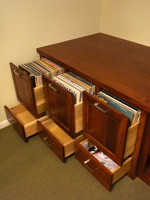 Custom Audio/Video/Vinyl Records cabinet traditional-basement