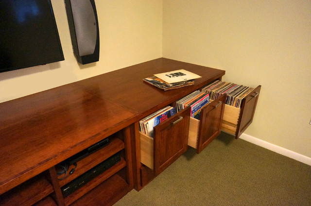 Custom Audio/Video/Vinyl Records cabinet - Traditional - Basement - minneapolis - by Home ...