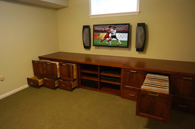 Custom Audio/Video/Vinyl Records cabinet - Traditional ...
