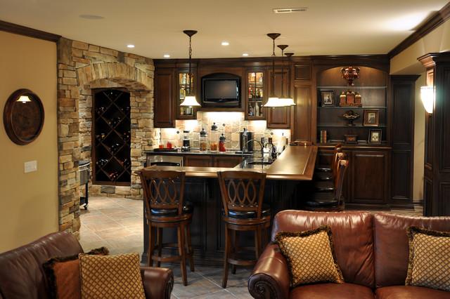 Custom Bar And Wine Nook Traditional Basement Cincinnati By Jocelyn Privett