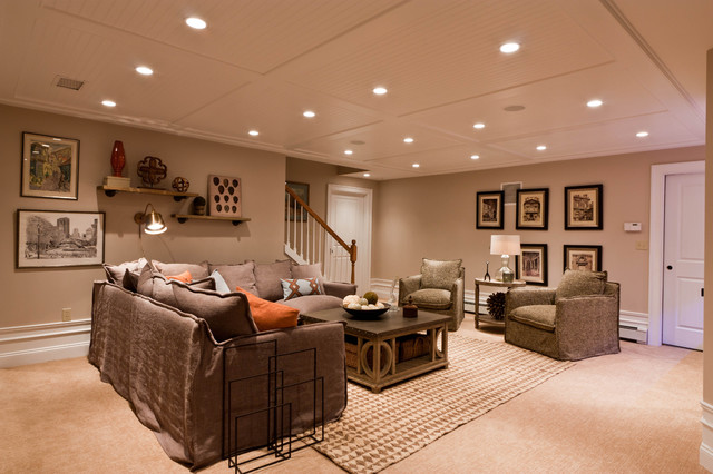 Custom baseament for the audiophile the oenophile and the exercise enthusiast contemporary for Beadboard ideas for living room