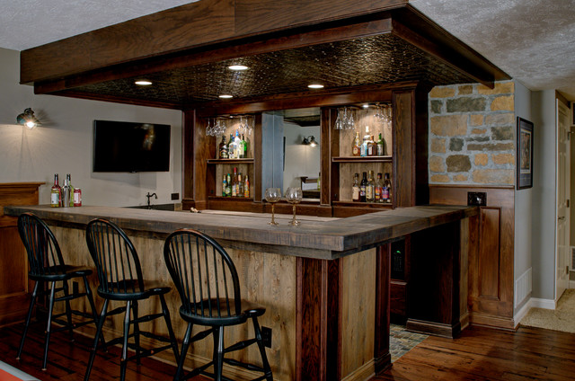 Custom Basement Bar Rustic Basement