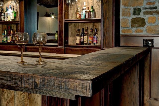 Custom Basement Bar Rustic Basement Columbus By