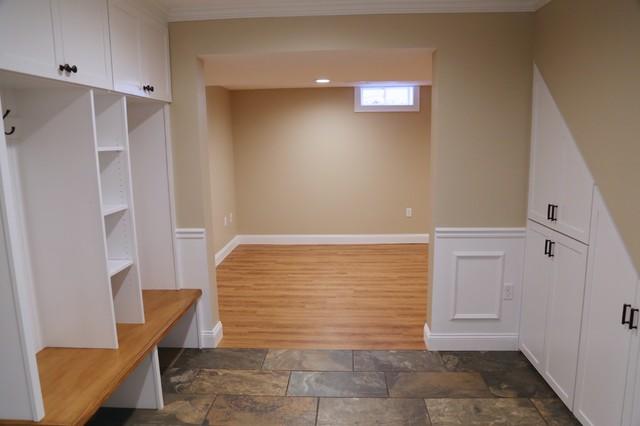 Custom basement mudroom ashland ma basement boston for Basement mudroom ideas