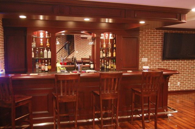 Custom Basement Pub Bar Transitional Basement
