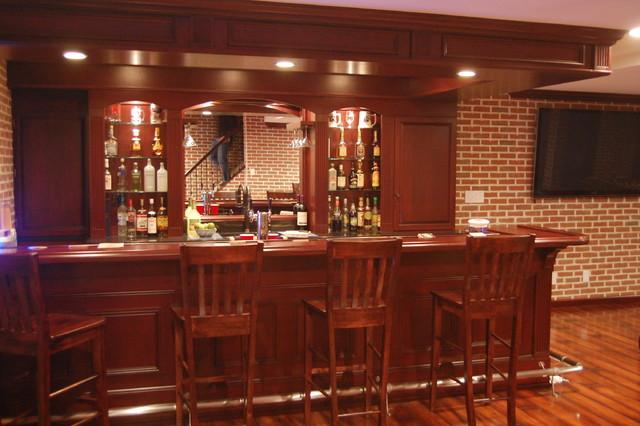 Custom Basement Pub Bar Transitional Basement