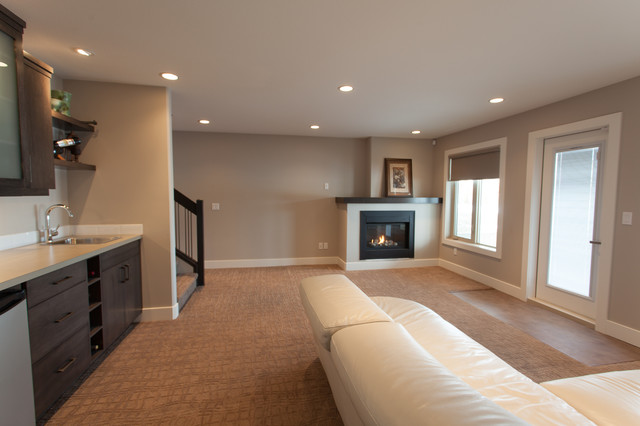 Best Benjamin Moore revere Pewter  Basement Design Ideas   Remodel   Inspiration for a contemporary basement remodel in Calgary. Benjamin Moore Revere Pewter Living Room. Home Design Ideas