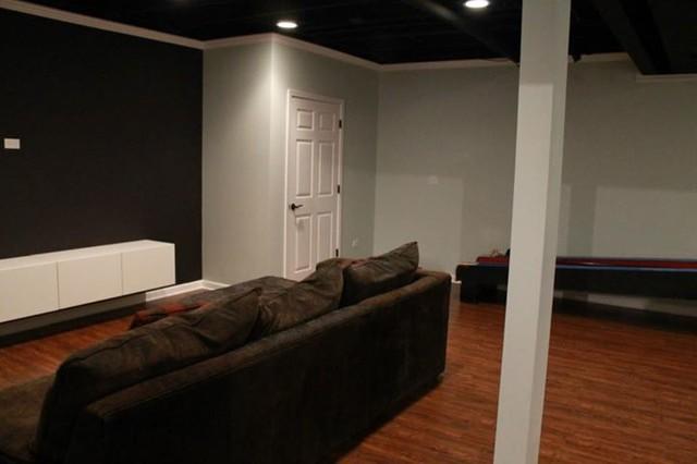 Custom Flooring Work In Basement Modern Basement Chicago