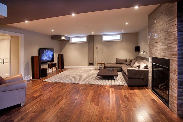 Custom homes kingsway contemporary basement toronto for Rugs for basement floors