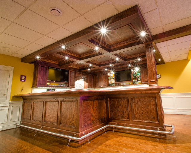 custom solid oak bar traditional basement detroit