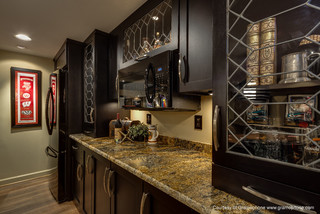 Custom Wet Bar And Wood Panel Knee Wall Modern Basement Baltimore By