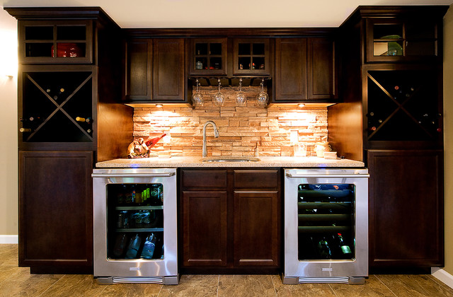 Custom Wet Bar Traditional Basement St Louis By