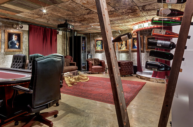 Dallas High End Man Cave Industrial Basement Dallas