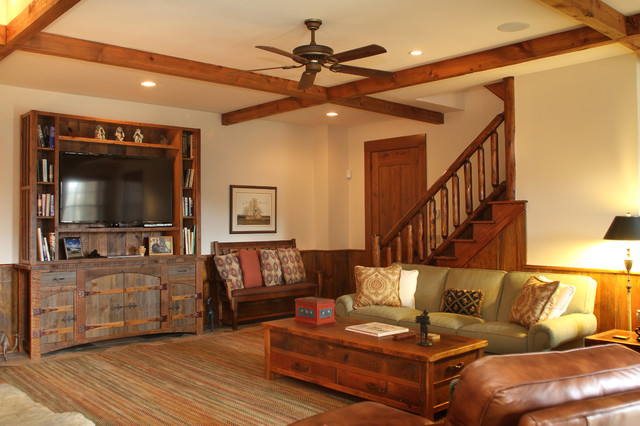 Danbury log cabin rustic basement other by marta for Log cabin basement ideas