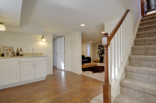 Inspiration for a mid-sized eclectic medium tone wood floor and brown floor basement remodel in Denver