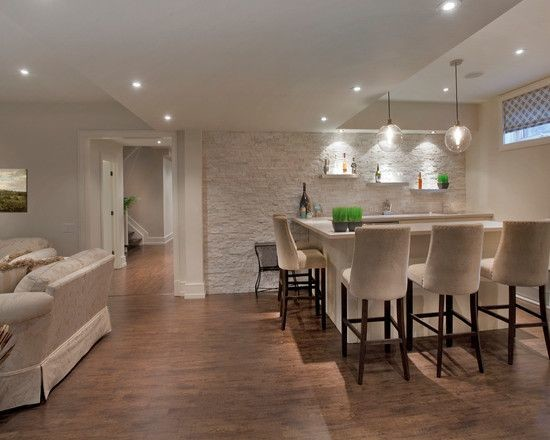 Good Mid Sized Minimalist Look Out Medium Tone Wood Floor Basement Photo In  Toronto With