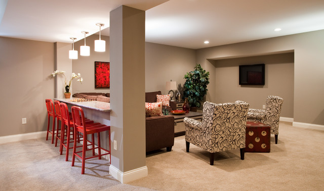 East Carmel Project Contemporary Basement Indianapolis By Thomas Jayne Interior Design