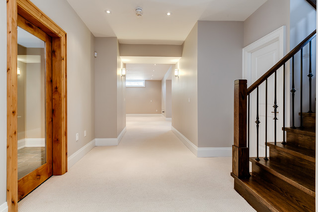 Example of a transitional basement design in Toronto