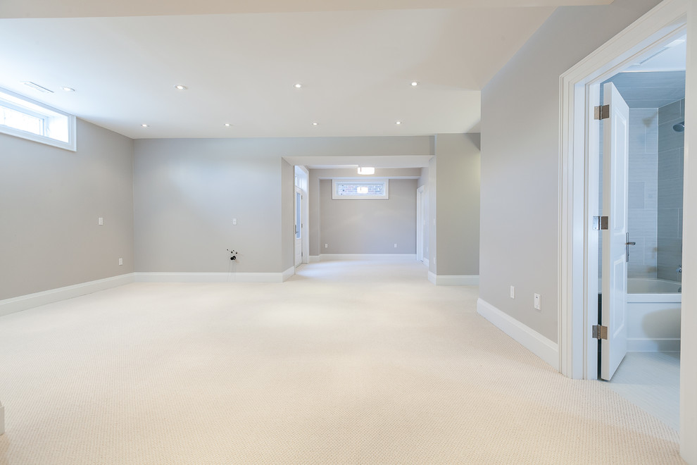 Inspiration for a transitional basement remodel in Toronto