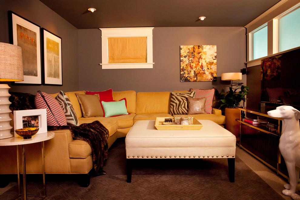Inspiration for a small eclectic look-out carpeted basement remodel in Portland with gray walls
