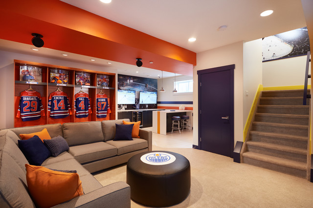 Edmonton oilers fan cave coventry homes contemporary for Modern home decor edmonton