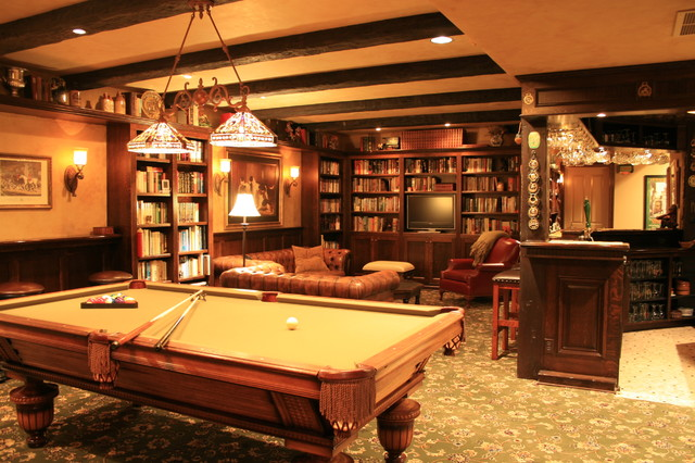English Pub style basement - Traditional - Basement - portland - by Pilgrims Custom Cabinets ...