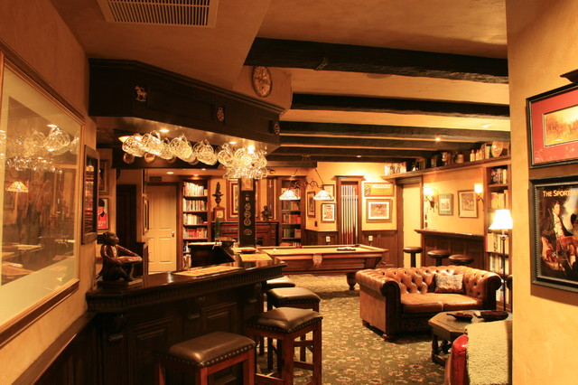 English Pub Style Basement Traditional Basement