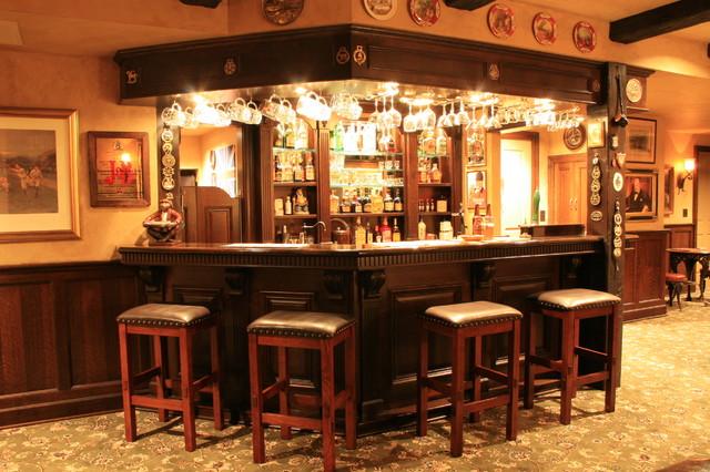English Pub Style Basement Traditional Basement