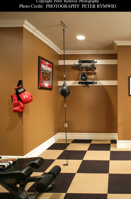 Exercise room boxing corner american traditional basement new
