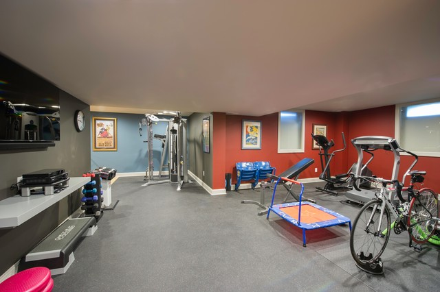 Exercise room contemporary basement philadelphia