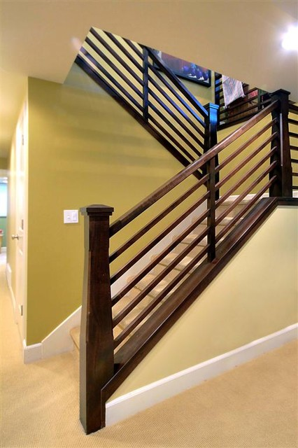 Exterior interior traditional rambler traditional - Interior stair railing contractors ...