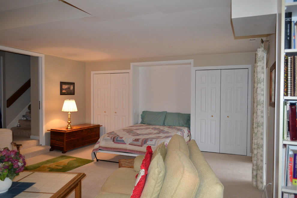 Small elegant walk-out carpeted basement photo in Baltimore with beige walls and no fireplace