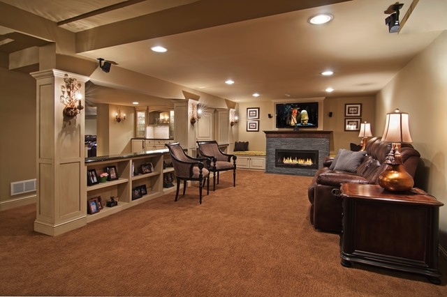 Family Room traditional basement
